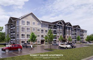 Exterior of The Flats at Kennett Apartments in Kennett Square, PA